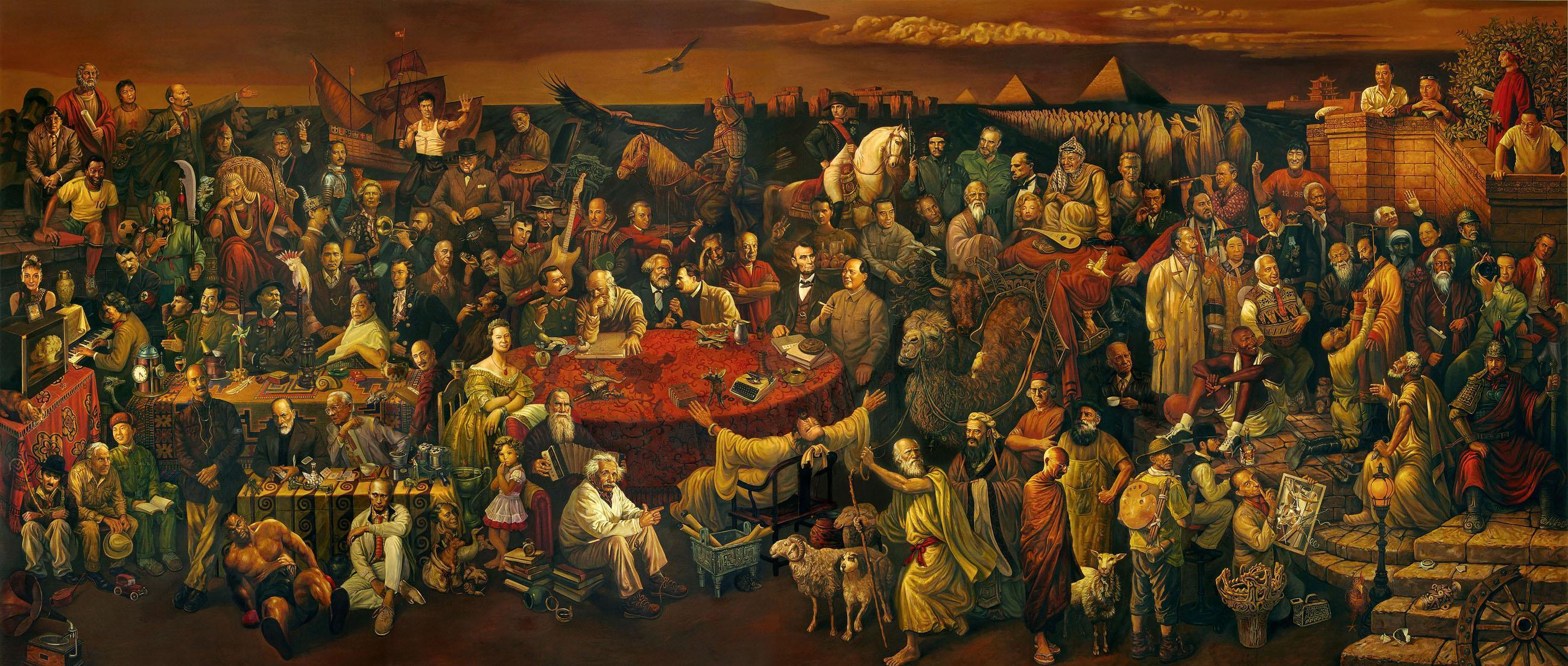 Chinese Artists Dai Dudu, Li Tiezi, and Zhang An, 2006, oil on canvas